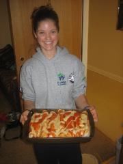 Allison holding enchiladas