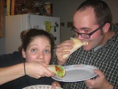 Allison and I make Tofu Tacos